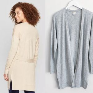 A New Day Belted Back Open Cardigan Gray M